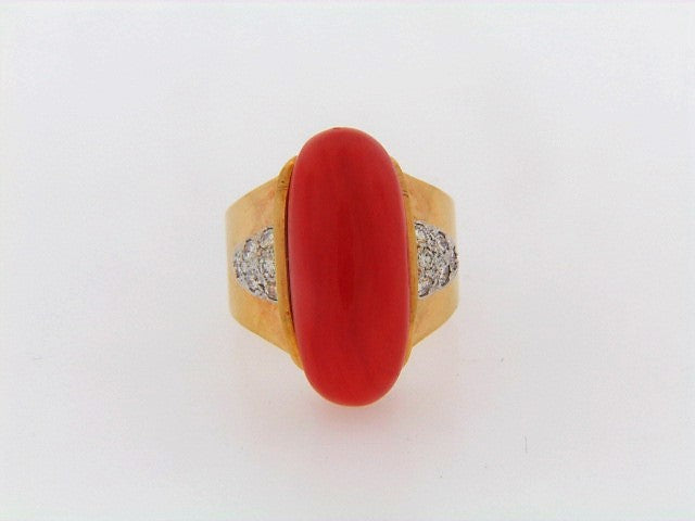 18K-YG RED CORAL AND DIAMOND RING
