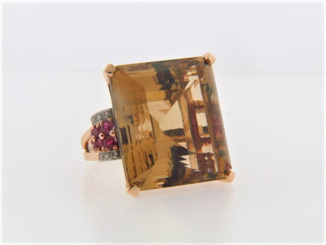 14K Rose Gold Citrine, Ruby and Diamond Ring