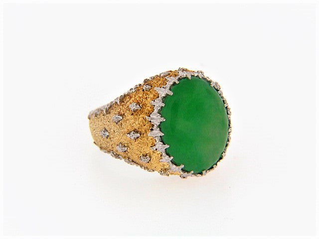 "18K-YG+WG JADE RING BY ""BUCCELLATI"""