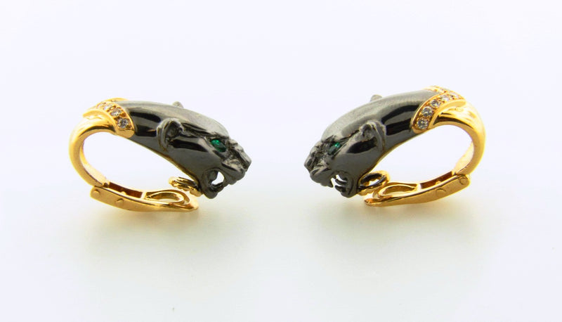 18K-YG AND BLACK OXIDIZED GOLD PANTHER EARRINGS | 18 Karat Appraisers | Beverly Hills, CA | Fine Jewelry