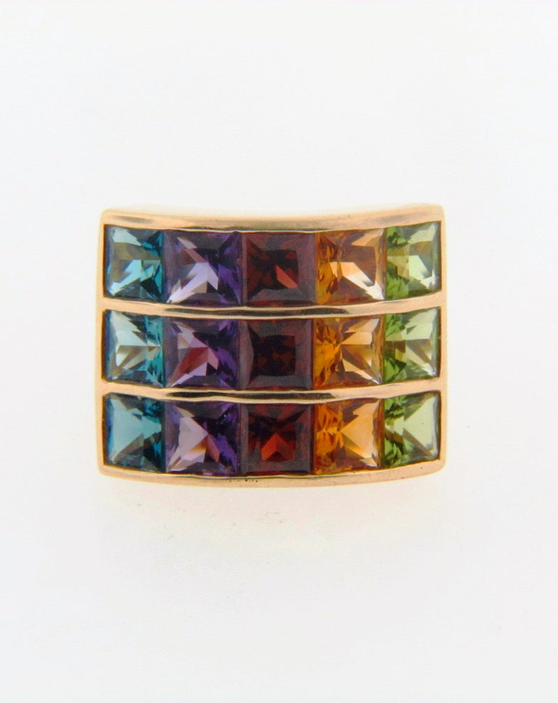 14K Yellow Gold Multi-Color Gemstone Ring | 18 Karat Appraisers | Beverly Hills, CA | Fine Jewelry