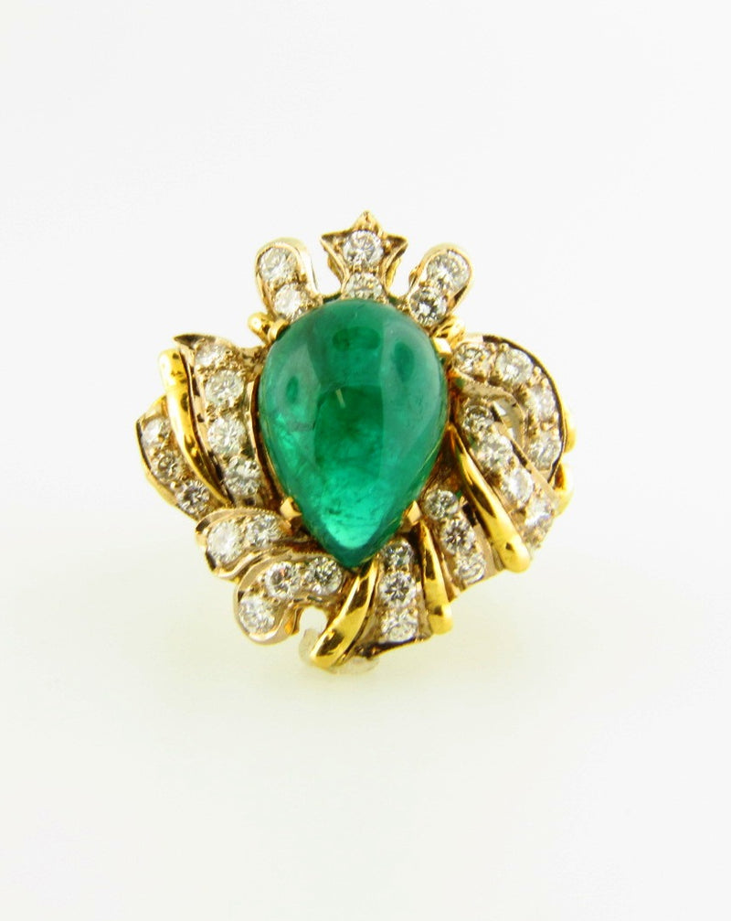 18K Yellow Gold, Emerald and Diamond Ring | 18 Karat Appraisers | Beverly Hills, CA | Fine Jewelry