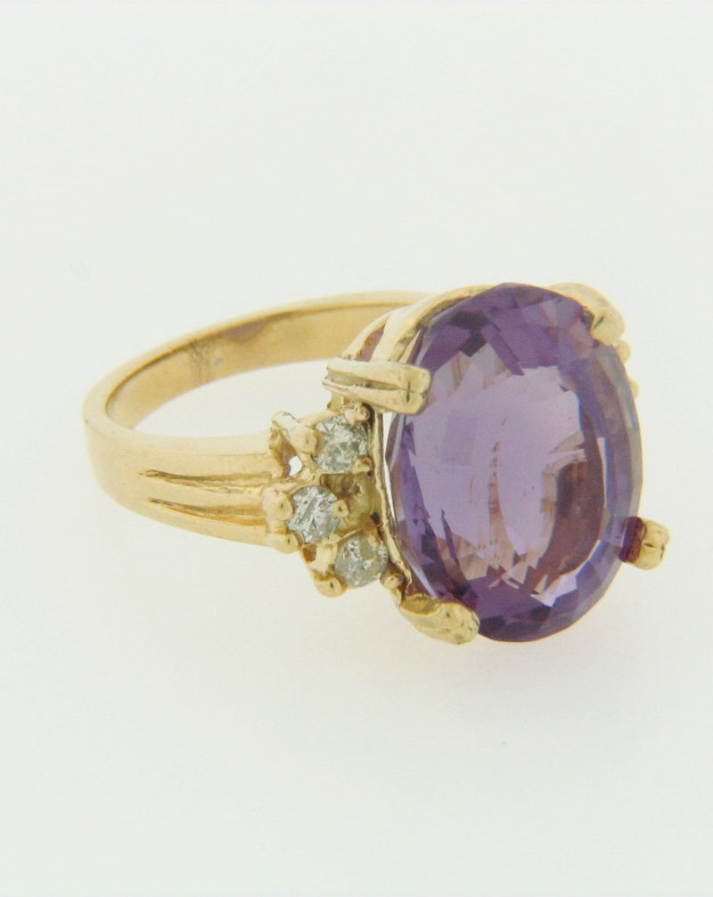 14K YELLOW GOLD AMETHYST AND DIAMOND RING | 18 Karat Appraisers | Beverly Hills, CA | Fine Jewelry