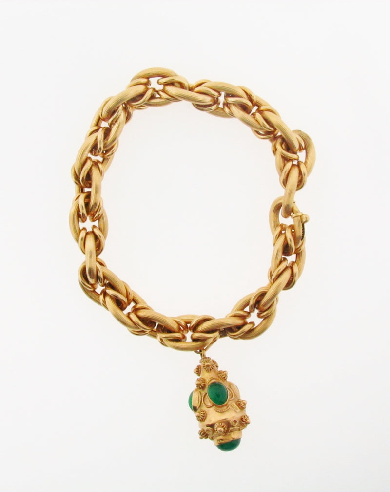 18K-YG YELLOW GOLD CHRYSOPRASE BRACELET