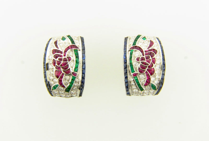 Art Deco, 18K White Gold, Diamond and Colored Stone Earrings