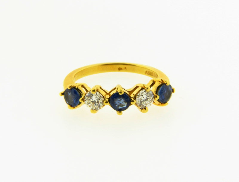 18K Yellow Gold, Diamond and Sapphire Band | 18 Karat Appraisers | Beverly Hills, CA | Fine Jewelry
