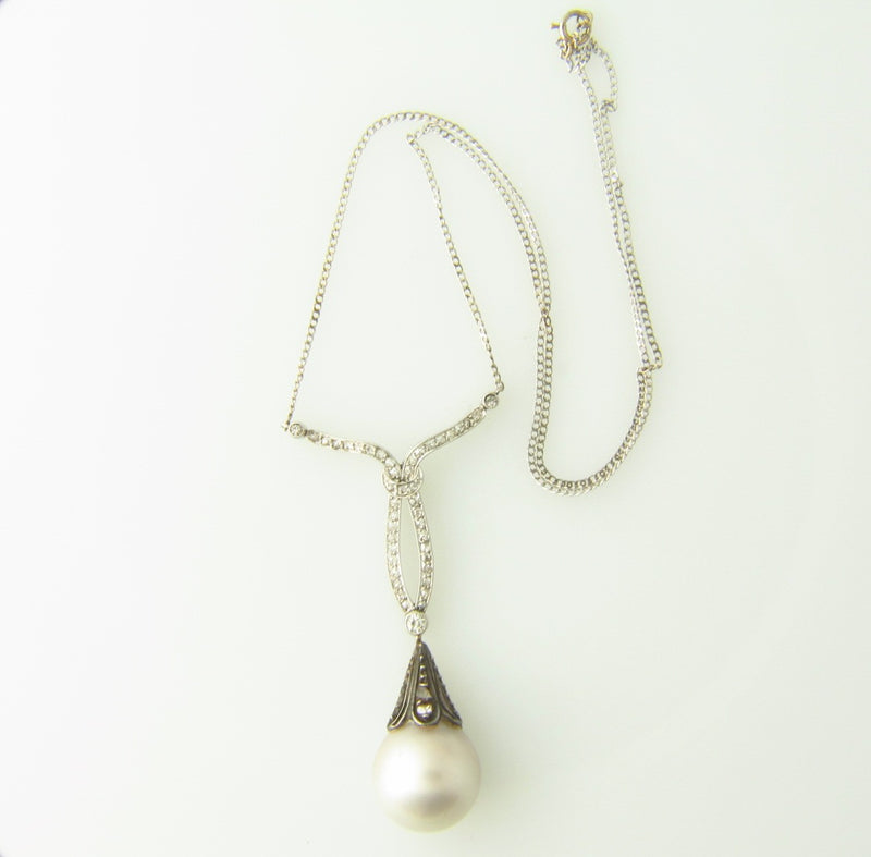 Edwardian Platinum and Silver, Pearl and Diamond Pendant | 18 Karat Appraisers | Beverly Hills, CA | Fine Jewelry