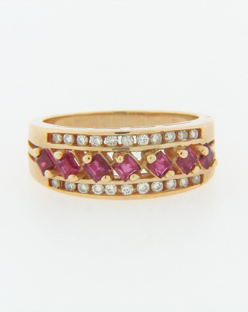 14K YELLOW GOLD RUBY AND DIAMOND BAND | 18 Karat Appraisers | Beverly Hills, CA | Fine Jewelry