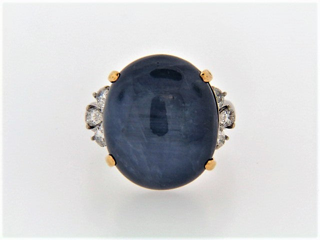 PLATINUM + 18K-YG STAR SAPPHIRE AND DIAMOND RING | 18 Karat Appraisers | Beverly Hills, CA | Fine Jewelry