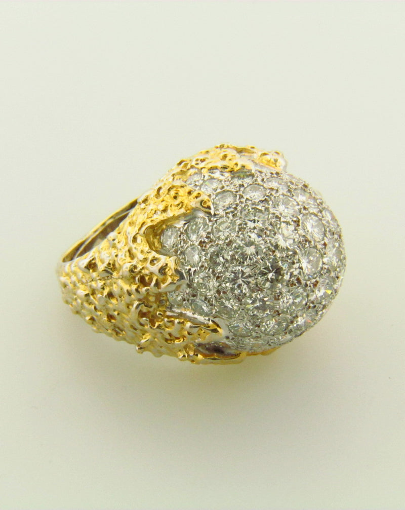 18K Yellow Gold Diamond Bombe Ring | 18 Karat Appraisers | Beverly Hills, CA | Fine Jewelry