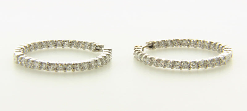 18K White Gold, Diamond Hoop Earrings by