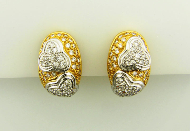 18K Yellow Gold and Platinum, Diamond Earrings | 18 Karat Appraisers | Beverly Hills, CA | Fine Jewelry