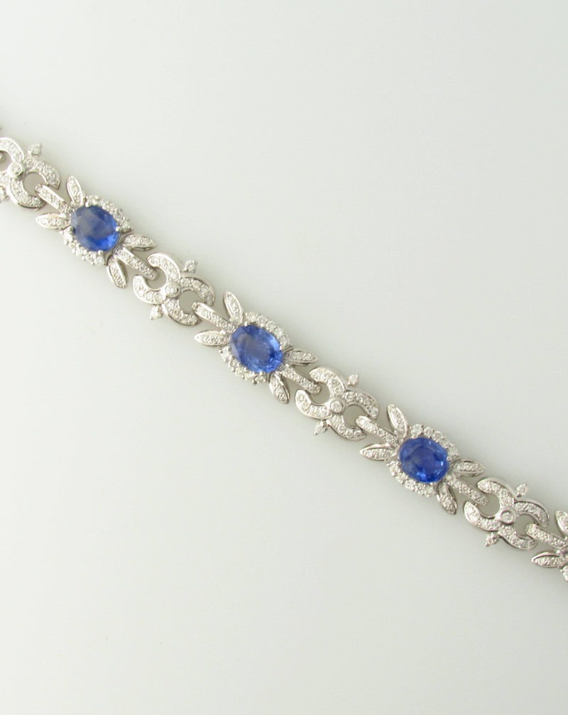 18K White Gold, Sapphire and Diamond Bracelet | 18 Karat Appraisers | Beverly Hills, CA | Fine Jewelry