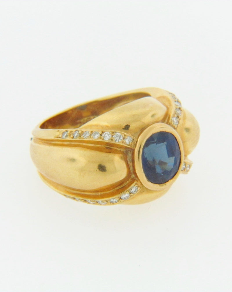 18K YELLOW GOLD SAPPHIRE AND DIAMOND RING | 18 Karat Appraisers | Beverly Hills, CA | Fine Jewelry