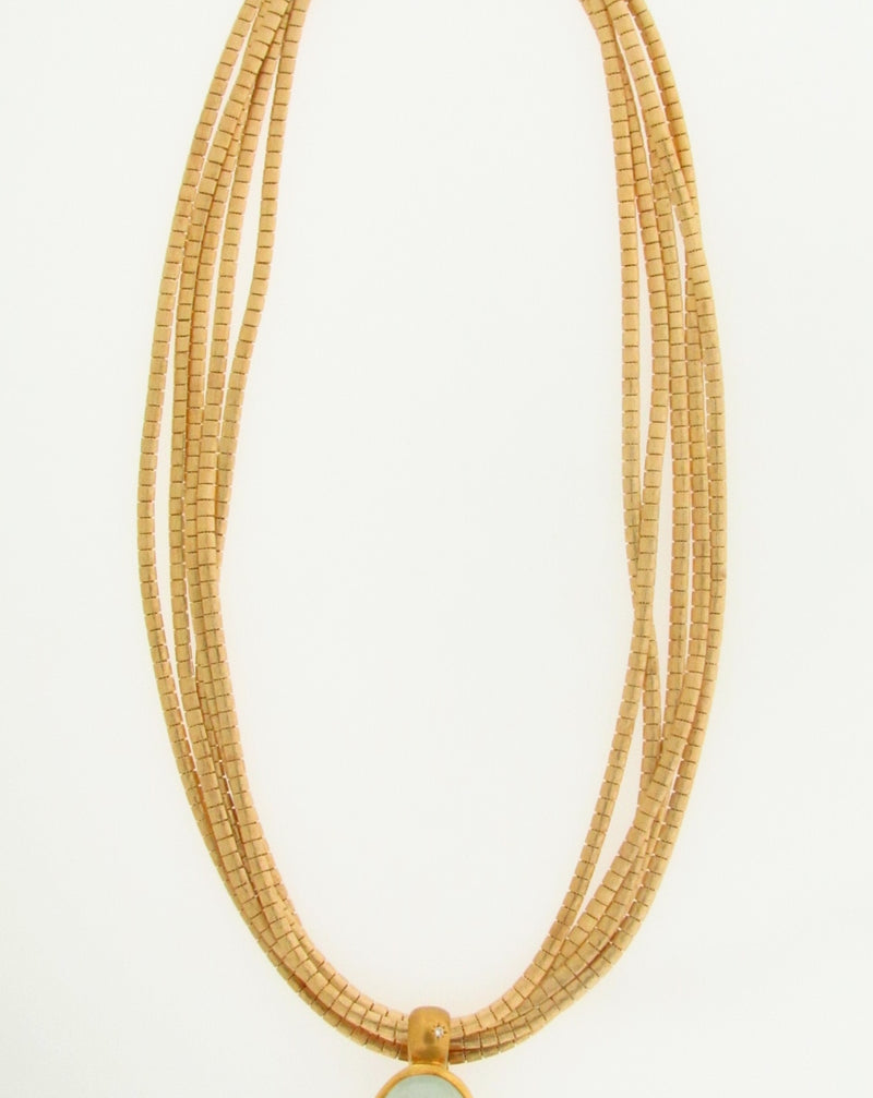 18K YELLOW GOLD AQUA PENDANT / NECKLACE | 18 Karat Appraisers | Beverly Hills, CA | Fine Jewelry