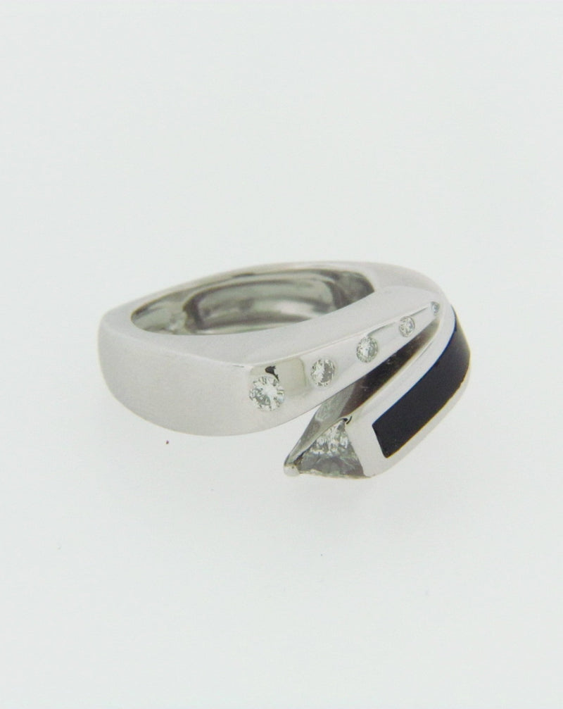 14K WHITE GOLD BLACK ONYX AND DIAMOND BYPASS RING | 18 Karat Appraisers | Beverly Hills, CA | Fine Jewelry