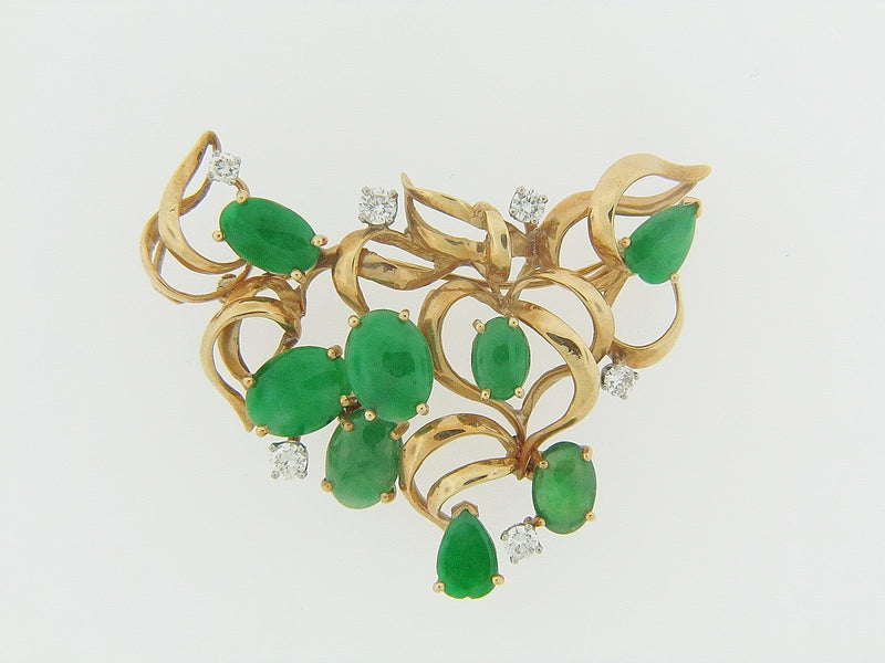 18K YELLOW GOLD JADE AND DIAMOND PENDANT / BROOCH | 18 Karat Appraisers | Beverly Hills, CA | Fine Jewelry