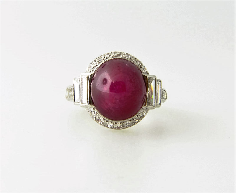 PLAT+18K-WG STAR RUBY AND DIAMOND RING