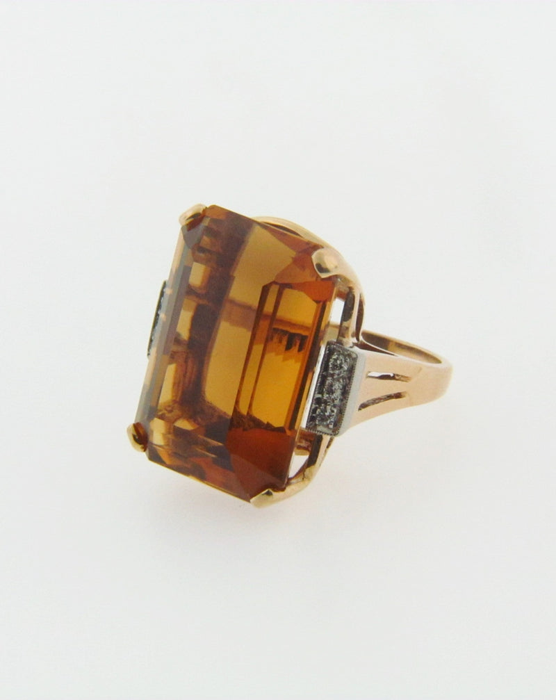 14K YELLOW GOLD CITRINE AND DIAMOND RING | 18 Karat Appraisers | Beverly Hills, CA | Fine Jewelry