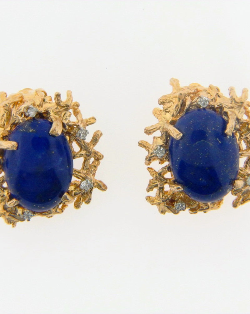 14K-YG Lapis Lazuli and Diamond Earclips | 18 Karat Appraisers | Beverly Hills, CA | Fine Jewelry