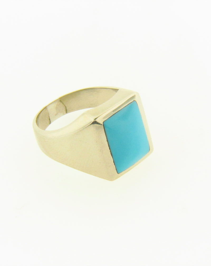 14K White Gold Turquoise Ring | 18 Karat Appraisers | Beverly Hills, CA | Fine Jewelry