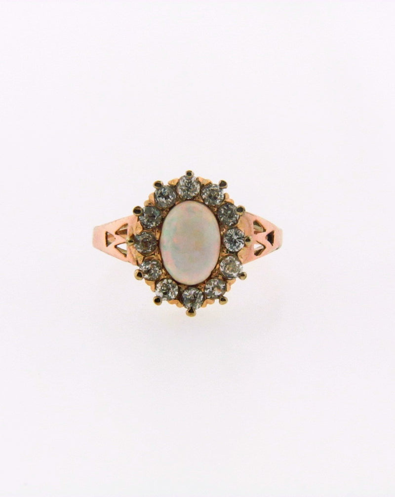 14K Yellow Gold Diamond and White Opal Ring | 18 Karat Appraisers | Beverly Hills, CA | Fine Jewelry