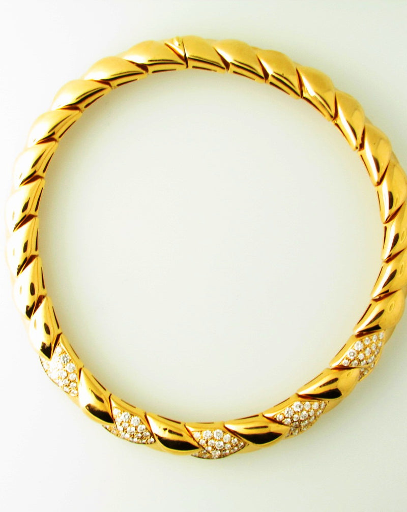 18K Yellow Gold, Diamond Collar Necklace | 18 Karat Appraisers | Beverly Hills, CA | Fine Jewelry