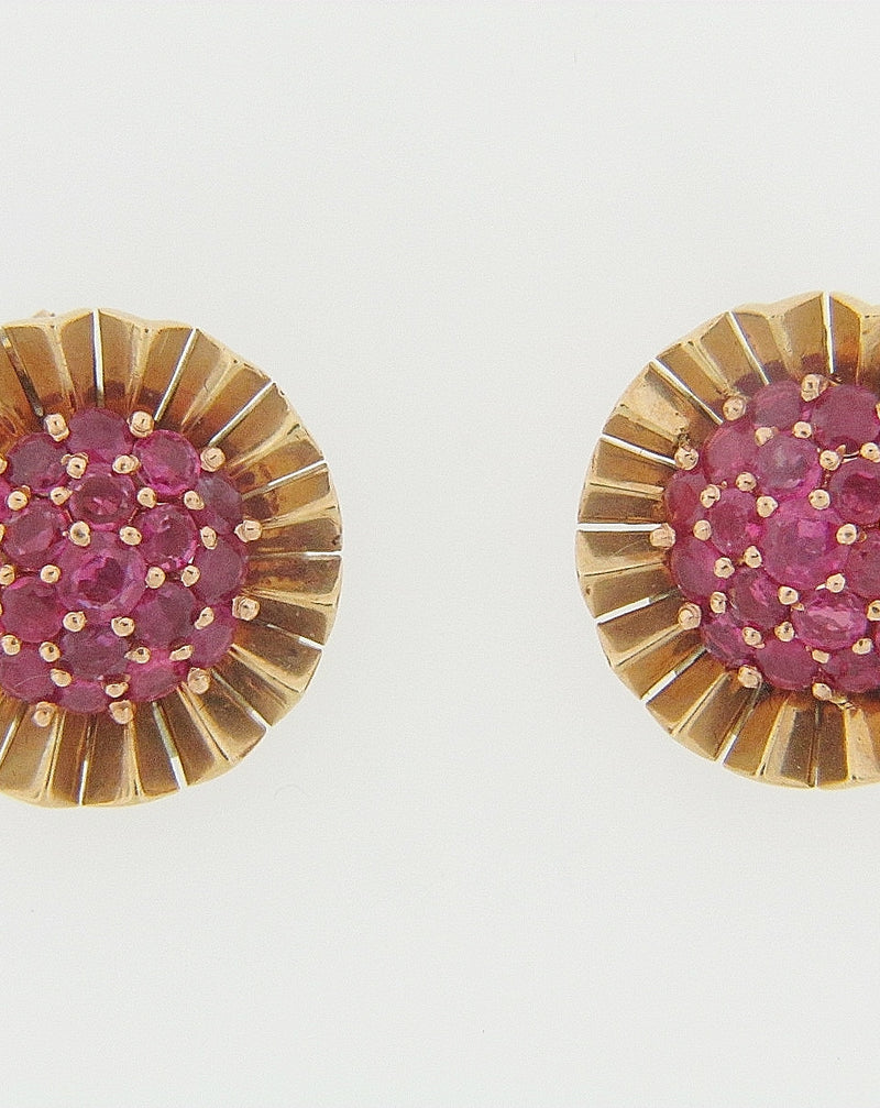 14K ROSE GOLD RUBY EARCLIPS | 18 Karat Appraisers | Beverly Hills, CA | Fine Jewelry