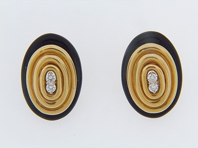 18K-YG ONYX AND DIAMOND EARCLIPS | 18 Karat Appraisers | Beverly Hills, CA | Fine Jewelry