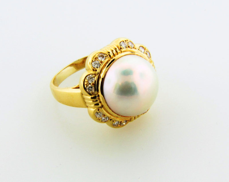 18K-YG MABE PEARL AND DIAMOND RING