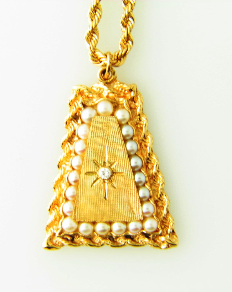 14K Yellow Gold, Pearl and Diamond Pendant | 18 Karat Appraisers | Beverly Hills, CA | Fine Jewelry