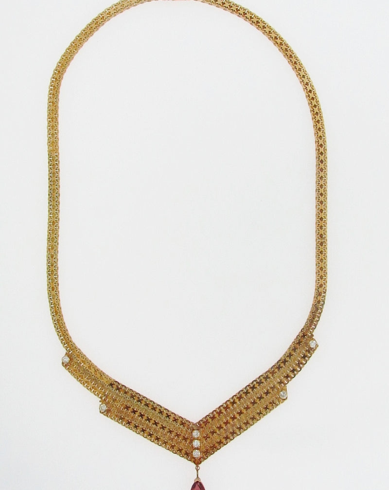 14K YELLOW GOLD GARNET AND DIAMOND NECKLACE | 18 Karat Appraisers | Beverly Hills, CA | Fine Jewelry