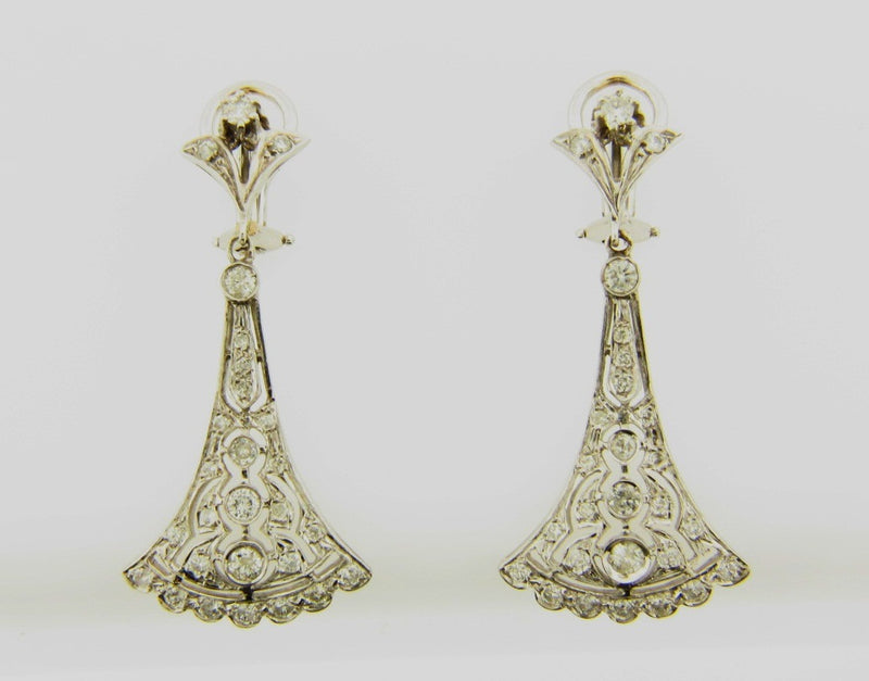 Platinum and White Gold Diamond Dangling Earrings | 18 Karat Appraisers | Beverly Hills, CA | Fine Jewelry