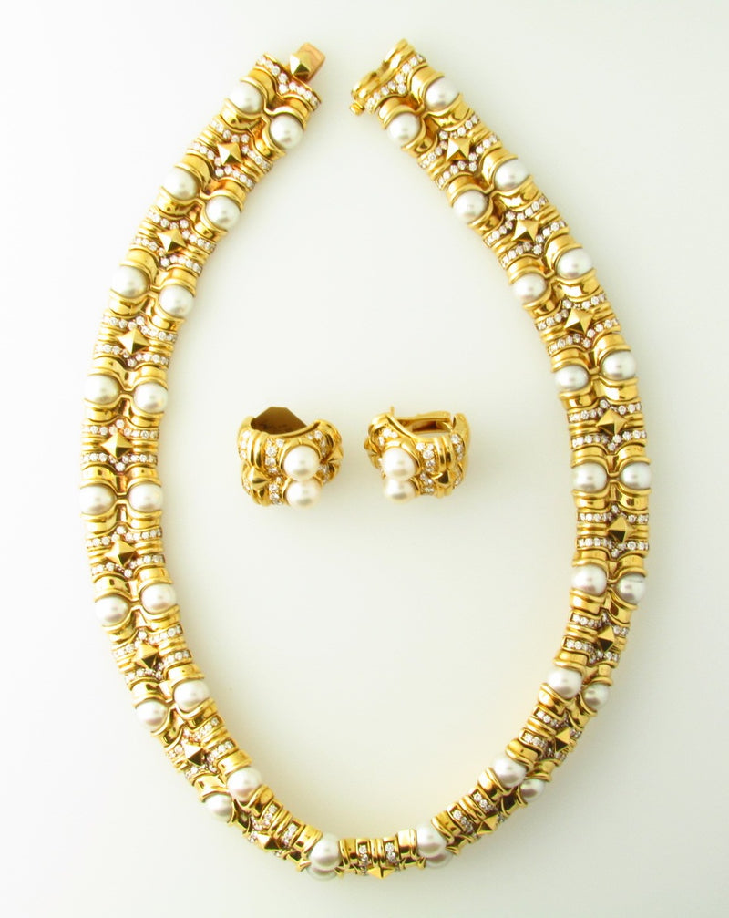 18K Yellow Gold, Diamond and Pearl Set by Bvlgari | 18 Karat Appraisers | Beverly Hills, CA | Fine Jewelry
