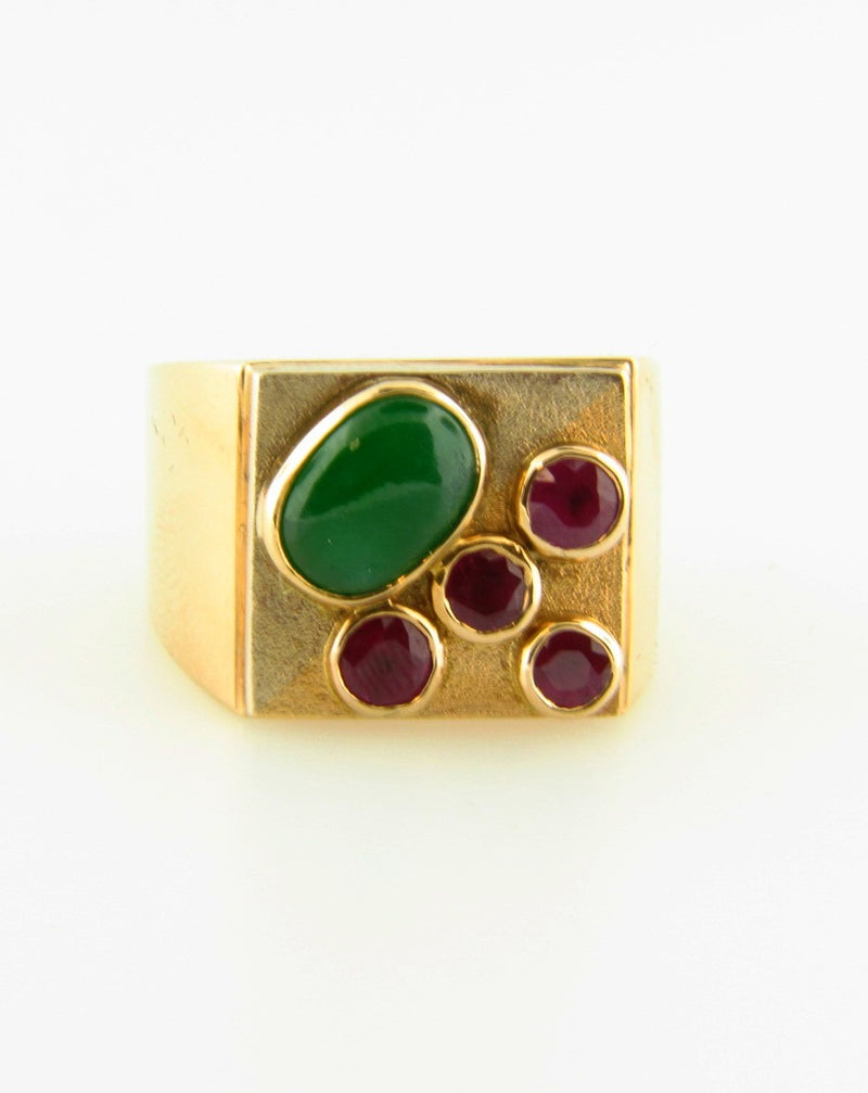 18K Yellow Gold, Jade and Ruby Ring | 18 Karat Appraisers | Beverly Hills, CA | Fine Jewelry