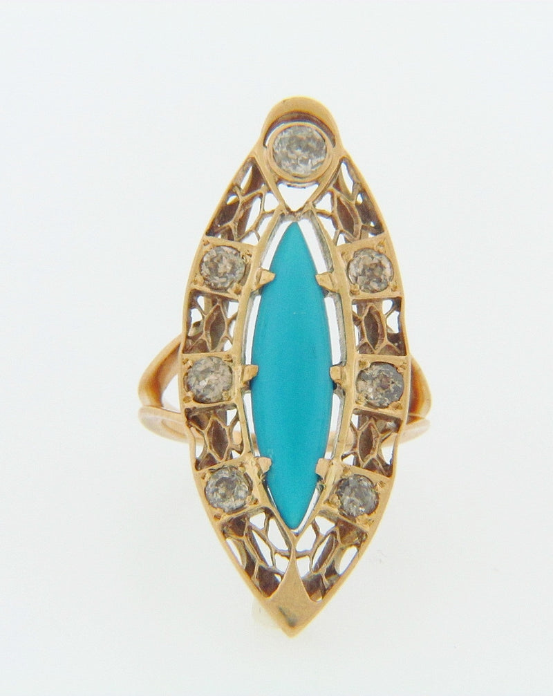 14K-WG TURQUOISE AND DIAMOND RING