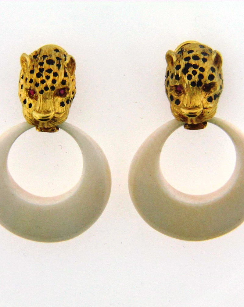 14K Yellow Gold Leopard motif, Earrings | 18 Karat Appraisers | Beverly Hills, CA | Fine Jewelry