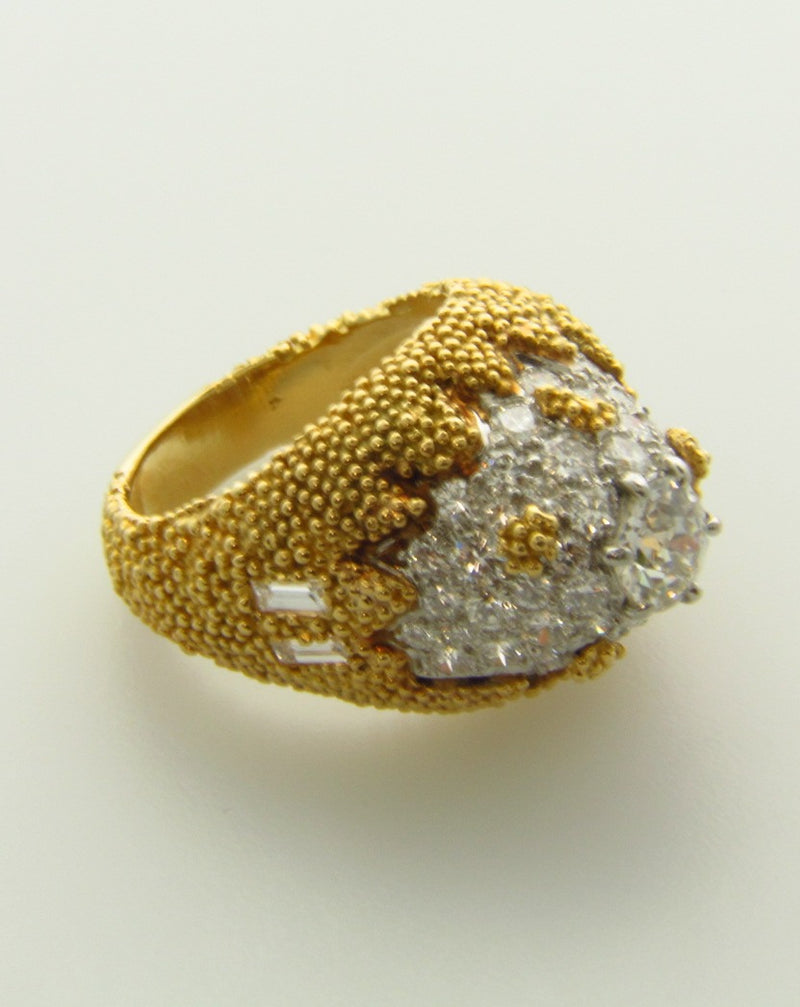 18K Yellow Gold and Platinum, Diamond Dome Ring | 18 Karat Appraisers | Beverly Hills, CA | Fine Jewelry