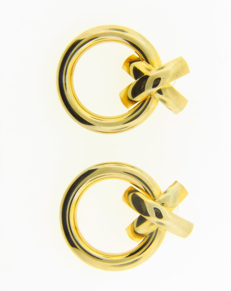 14K Yellow Gold Circular Earrings | 18 Karat Appraisers | Beverly Hills, CA | Fine Jewelry