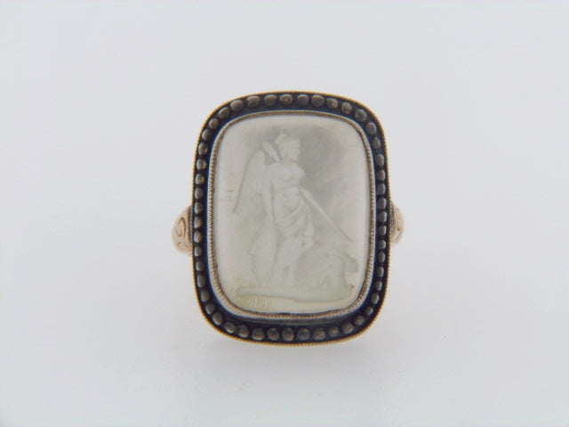 14K-YG AND SILVER INTAGLIO RING | 18 Karat Appraisers | Beverly Hills, CA | Fine Jewelry