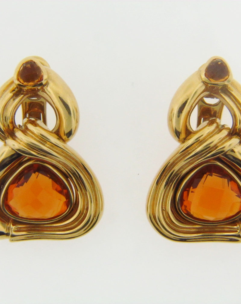 18K YELLOW GOLD CITRINE DANGLING EARRINGS | 18 Karat Appraisers | Beverly Hills, CA | Fine Jewelry