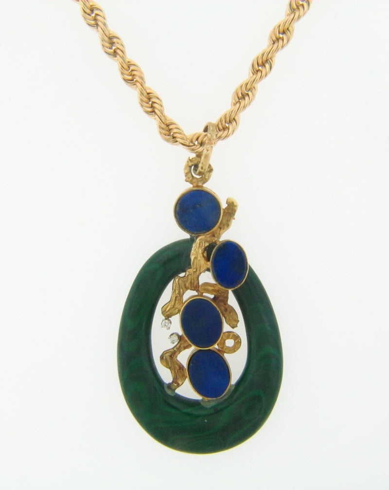 14K Yellow Gold Lapis Lazuli, Malachite, and Diamond Pendant | 18 Karat Appraisers | Beverly Hills, CA | Fine Jewelry