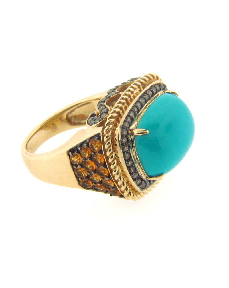 14K Yellow Gold Turquoise, Diamond, Citrine Ring | 18 Karat Appraisers | Beverly Hills, CA | Fine Jewelry