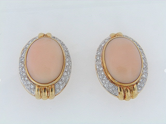 18K-YG PINK CORAL AND DIAMOND EARRINGS
