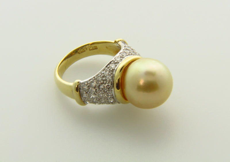 18K Yellow Gold, Pearl and Diamond Ring | 18 Karat Appraisers | Beverly Hills, CA | Fine Jewelry
