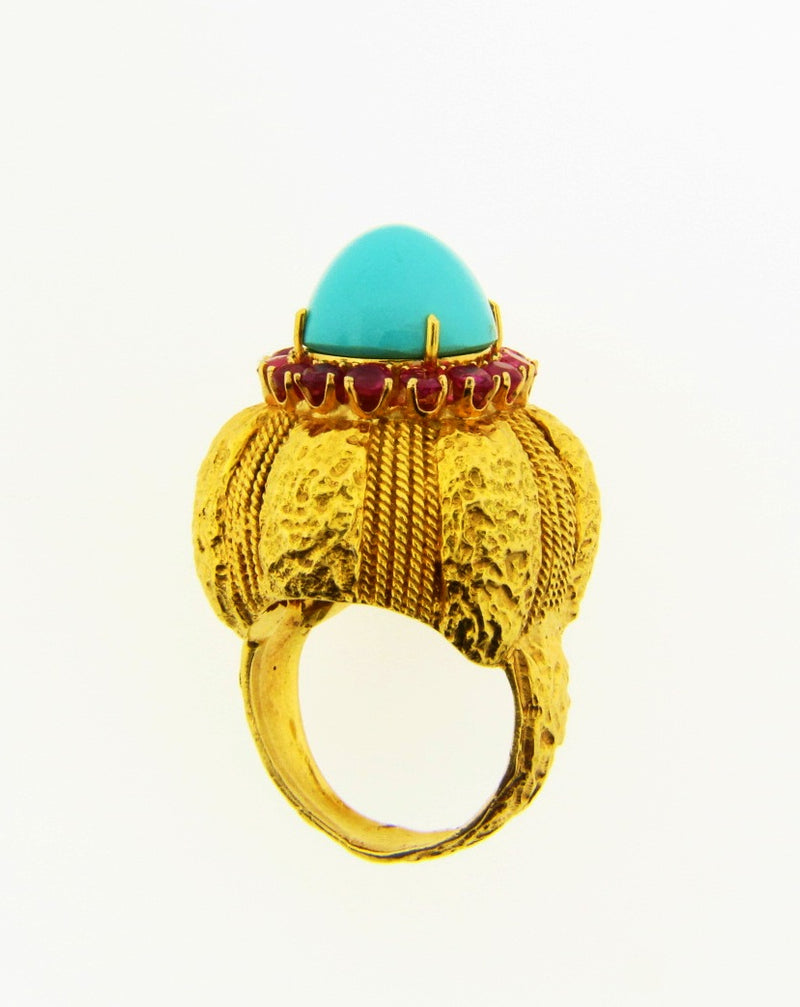 18K Yellow Gold, Turquoise and Ruby Dome Ring