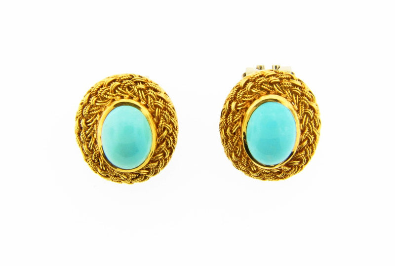 18K Yellow Gold, Turquoise Button Earrings