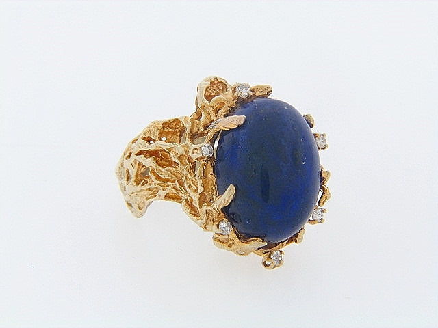 14K-YG LAPIS LAZULI AND DIAMOND RING | 18 Karat Appraisers | Beverly Hills, CA | Fine Jewelry
