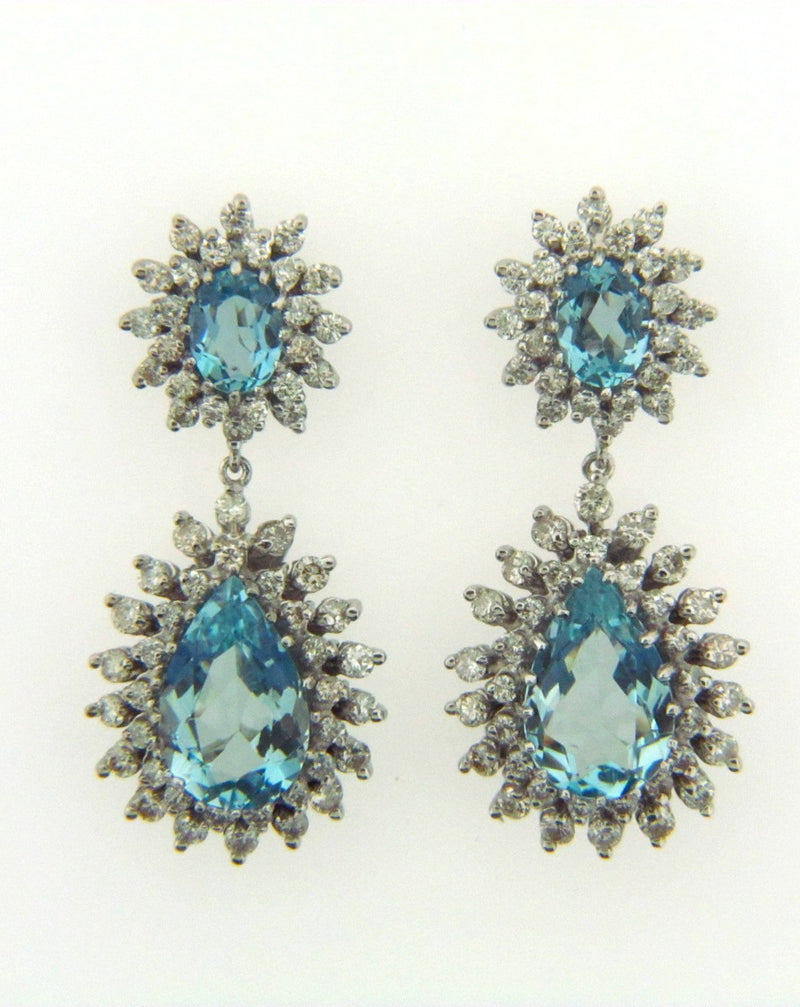 14K White Gold Aquamarine and Diamond Earrings | 18 Karat Appraisers | Beverly Hills, CA | Fine Jewelry