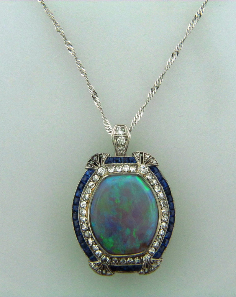 Art Deco, Platinum Opal, Sapphire, and Diamond Pendant | 18 Karat Appraisers | Beverly Hills, CA | Fine Jewelry